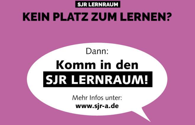 """Sprechblase """"Komm in den SJR Lernraum"""""""