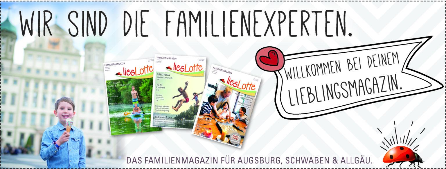 Junge mit Eis vor Augsburger Rathaus. 3 liesLotte-Titelbilder und Schrift: Wir sind die Familienexperten. Willkommen bei Deinem Lieblingsmagazin.