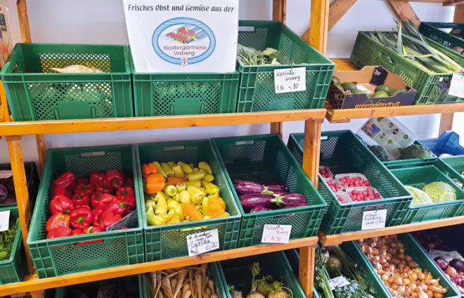 Gemüseauslage im Mühlenladen