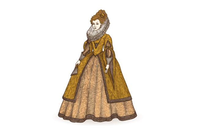 Illustration von einer Frau in einem gelben Kleid aus dem 16. Jht.