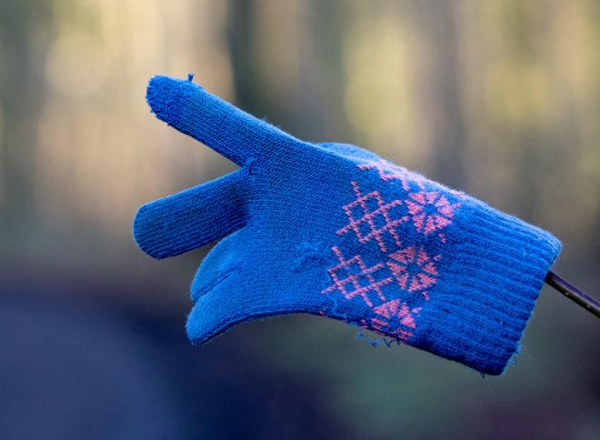 Handschuh an einem Zweig