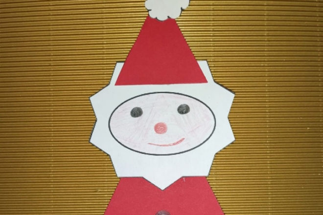 Gebastelter Nikolaus aus Papier