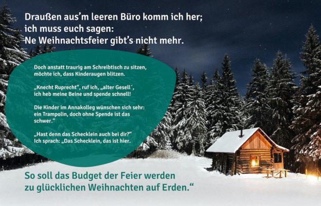 Weihnachtsgedicht für Spendenaktion vom Annakolleg