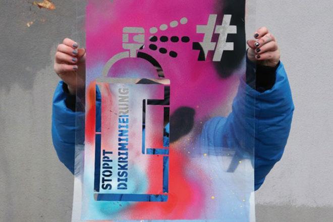 Foto einer bunten Schablone für Projekt kampagnenstark