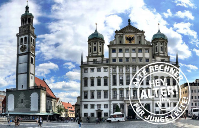 """Augsburger Rathaus + Perlachturm mit einem Stempel von """"hey Alter"""""""