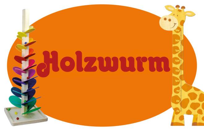 Collage Holzwurm-Logo mit Holzspielzeugen