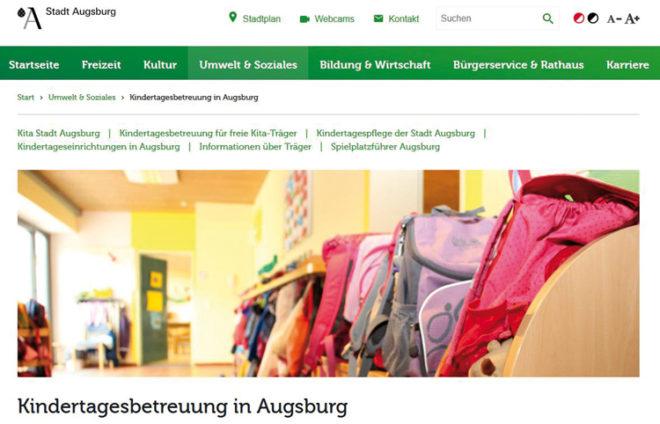 Screenshot vom Internetauftritt Kita Stadt Augsburg