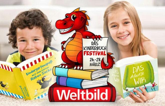 """Logo """"Weltbild Kinderbuchfestival"""" mit zwei Kindern und ihren Büchern im Hintergrund"""