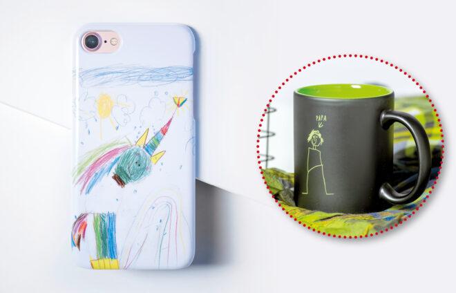Kinderbilder auf Smartphone-Hülle und Tasse