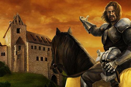Illustration eines Ritters mit seinem Pferd vor der Burg Katzenstein