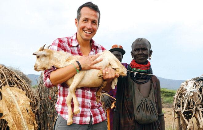 Willy Weitzel mit Ziege